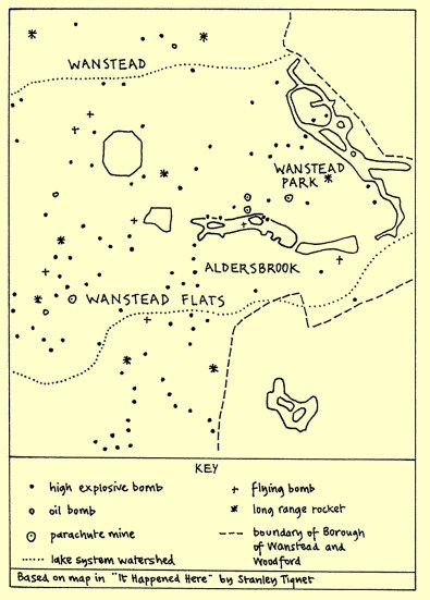 Map of bombs which fell on Wanstead Flats