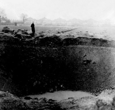 Crater from a landmine in Clayhall Park