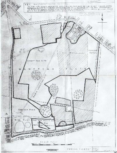 Map of Flats showing anti-aircraft gun emplacement & vehicle depot.