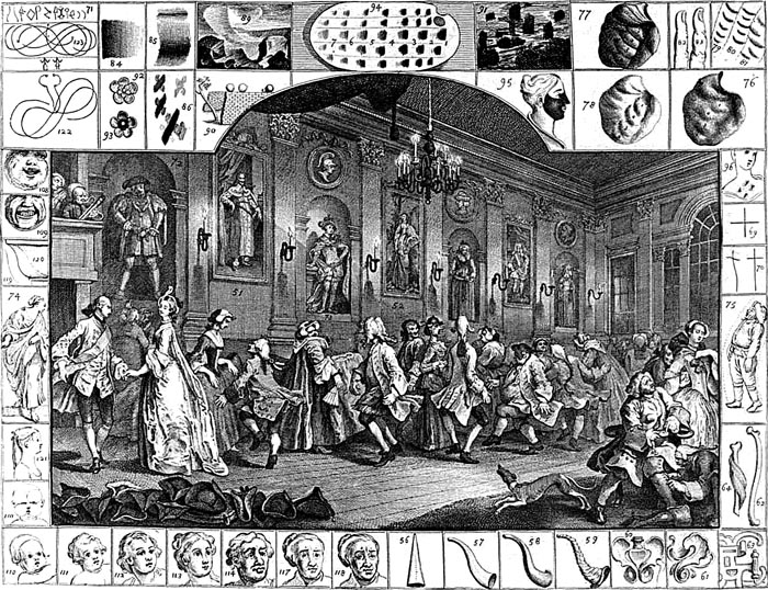 """William Hogarth: """"The Analysis of Beauty"""", Plate 2 """"The Country Dance"""" (1753). Said to represent a scene at Wanstead."""