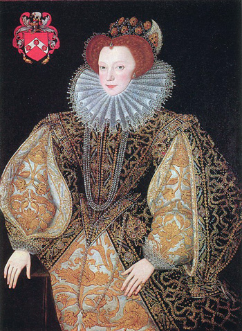 Lettice, Countess of Leicester, by George Gower 1540-1596. From the collection of the Most Honourable The Marquess of Bath, Longleat.