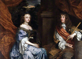 Anne Hyde, Duchess of York, and James, Duke of York (later King James II and VII), by Sir Peter Lely. Image © National Portrait Gallery, London.