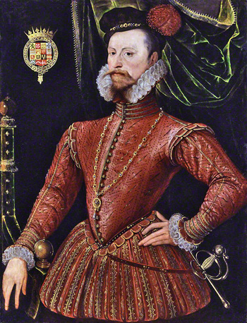 Robert Dudley, 1st Earl of Leicester, by Unknown Anglo-Netherlandish artist (c.1575). Image © National Portrait Gallery, London.