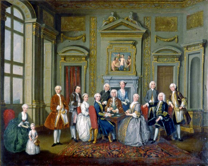"""The Tylney Family in the Saloon at Wanstead House"" (1740), by Joseph Francis Nollekens (""Old Nollekens""). Reproduced by permission of Fairfax House, York."