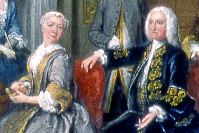 """""""The Tylney Family in the Saloon at Wanstead House"""" (1740), by Joseph Francis Nollekens (""""Old Nollekens""""). Detail showing Richard and Dorothy, Earl and Countess Tylney of Castlemaine. Reproduced by permission of Fairfax House, York."""