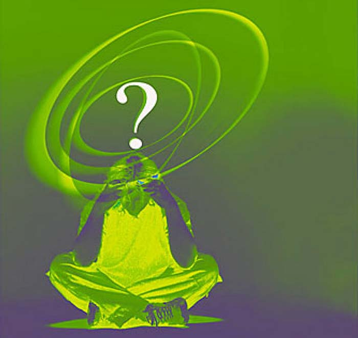 Confused man with green question mark above his head uid 1278890