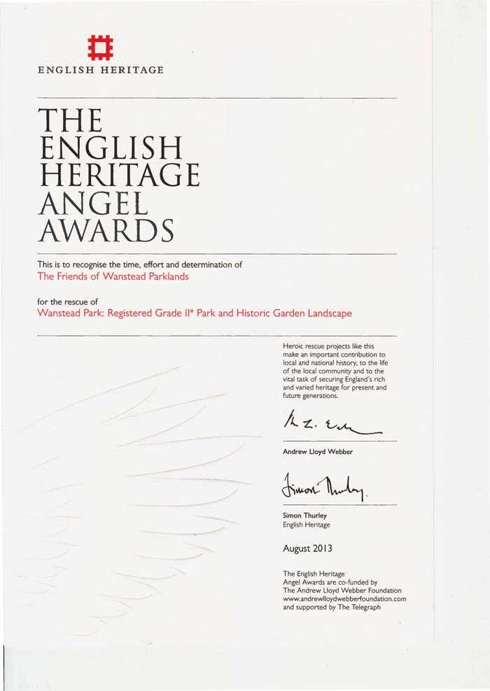 English Heritage Angel Certificate 2013 700px
