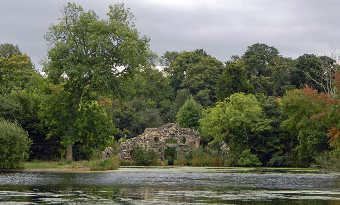 View across the Ornamental Water toward the Grotto.