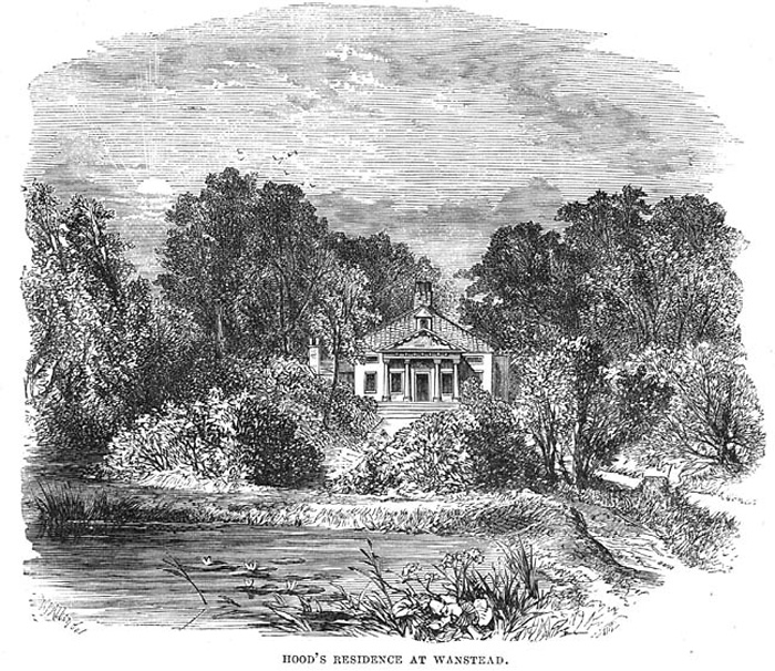 An old engraving of Lake House which, as the caption states, was for several years the home of the writer Thomas Hood.
