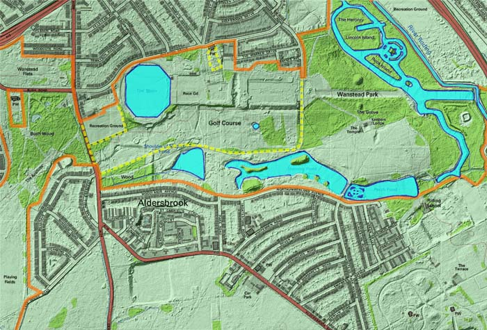 The lakes in 2013. Four major water bodies have been abandoned since 1800, while the Heronry Pond has been reconfigured and reduced in size. Lidar imagery © the Environment Agency, Ordnance Survey imagery UKMap © The GeoInformation Group 2013.