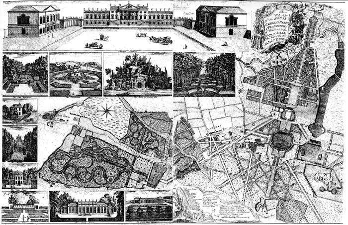 Jean Rocque's plan of Wanstead Park from 1735. Lord Tylney's grandiose intentions for extending the house, lakes and gardens were never to be realised.