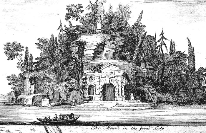 """The Mount in the Great Lake"", an image from Jean Roque's 1735 plan of Wanstead Park. It is likely, though not certain, that this shows the island in what became known as the Heronry Pond. Whether the grotto was completed before Lord Tylney's money ran out in the 1740s is anybody's guess."