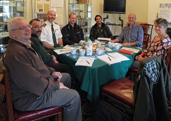 Inaugural meeting of the Wanstead Park Liaison Group on 6 November 2013. From viewer's left: Ralph Potter (FWP), Geoff Sinclair (Epping Forest), Andrew Gammie (Epping Forest), Andy Froud (Epping Forest), Francis Castro (Redbridge), Peter Wilkinson (Interim Project Manager), Sophie Lillington (Epping Forest). Richard Arnopp (FWP) was behind the camera.